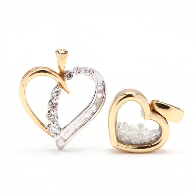 two-gold-and-diamond-heart-pendants