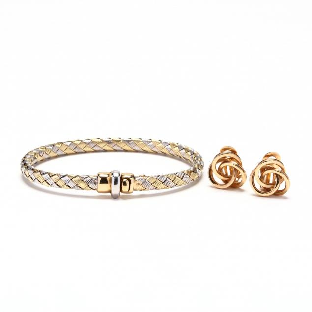 bi-color-gold-bracelet-and-a-pair-of-14kt-gold-earrings