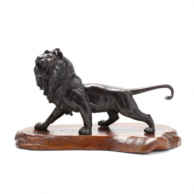 a-large-japanese-meiji-period-bronze-lion-signed-masatsune