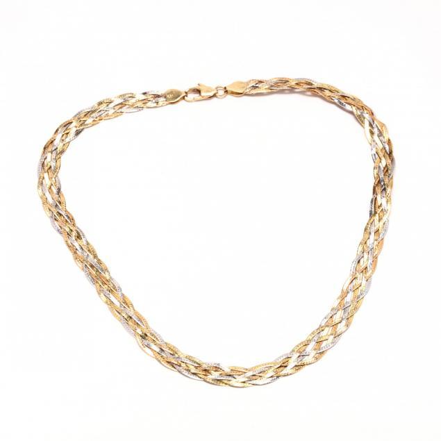 14kt-bi-color-gold-woven-necklace