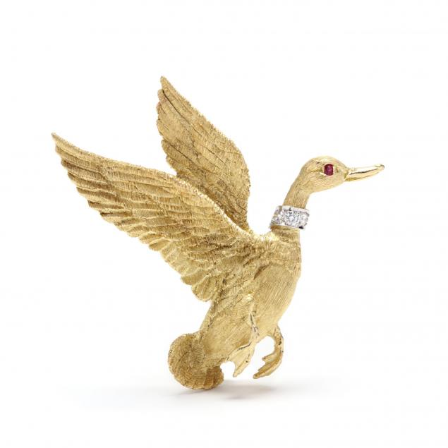 14kt-platinum-and-gem-set-bird-brooch
