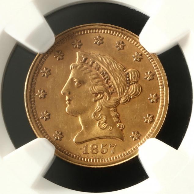 1857-2-50-liberty-head-gold-quarter-eagle-ngc-ms61