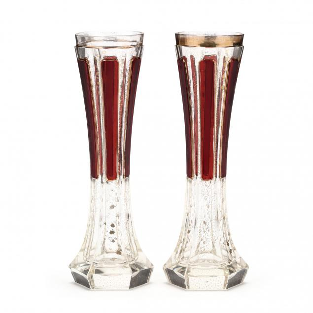 pair-of-moser-ruby-cabochon-trumpet-vases