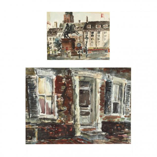 robert-c-magis-pa-1929-1979-two-original-watercolor-street-scenes