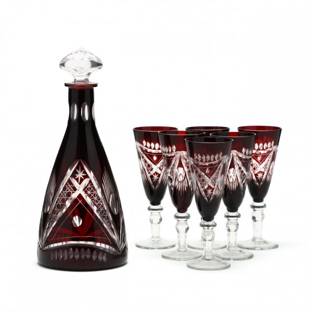 bohemian-ruby-cut-to-clear-decanter-set