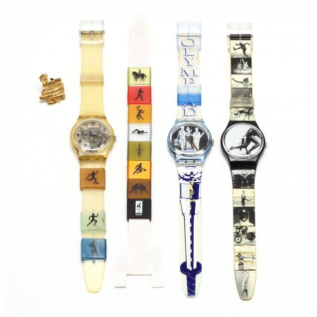 three-swatch-1996-centennial-olympic-games-atlanta-commemorative-watches-and-lapel-pin