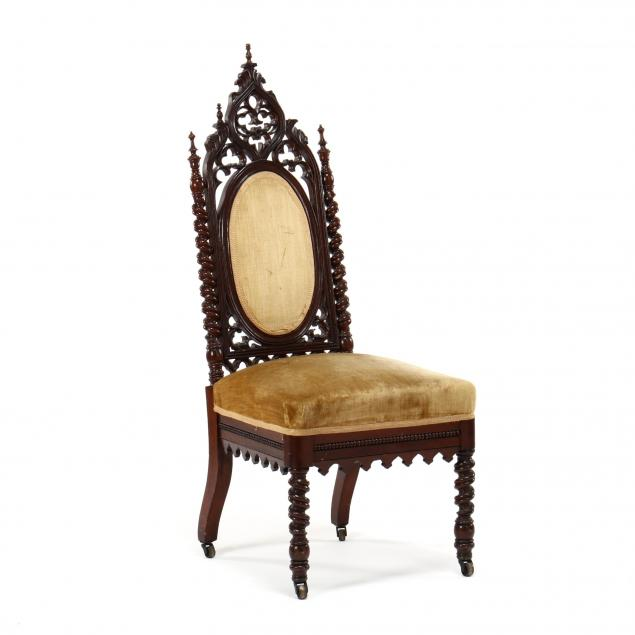 gothic-revival-carved-walnut-hall-chair