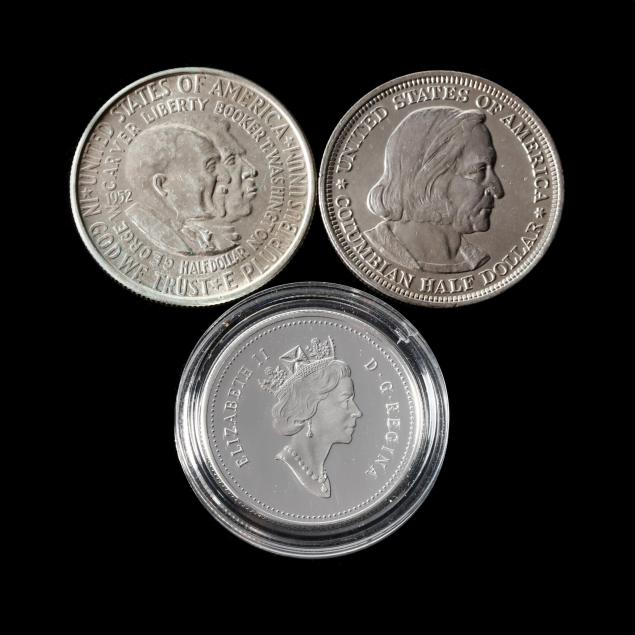 two-u-s-commemorative-halves-and-a-canadian-silver-half-dollar