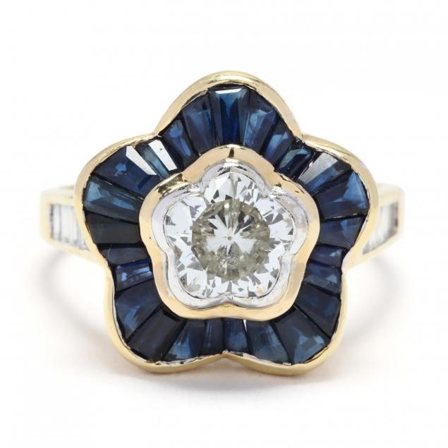 18kt-gold-flower-cut-diamond-and-sapphire-ring