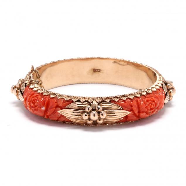 vintage-14kt-gold-and-carved-coral-bracelet