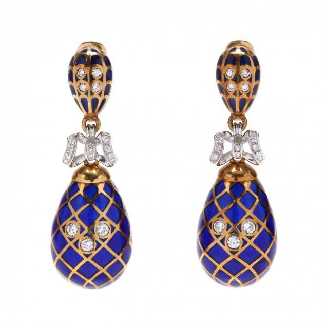 18kt-bi-color-gold-enamel-and-diamond-earrings