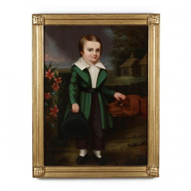 american-school-portrait-of-a-young-boy-with-hound