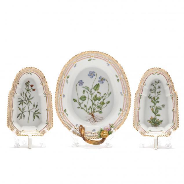 three-royal-copenhagen-flora-danica-porcelain-accent-dishes