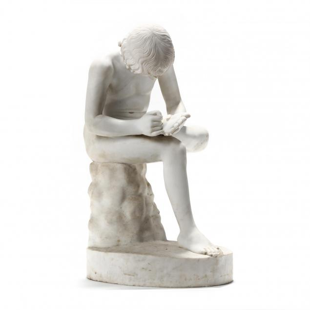 an-italian-white-marble-figure-of-a-boy-with-thorn-i-spinario-i