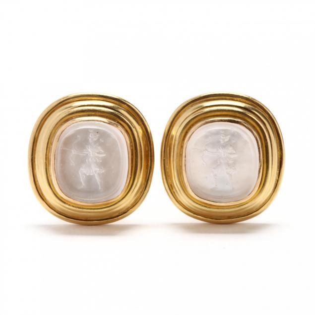 18kt-gold-and-venetian-glass-intaglio-earrings-elizabeth-locke