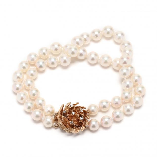 two-strand-pearl-bracelet-with-14kt-gold-and-diamond-clasp