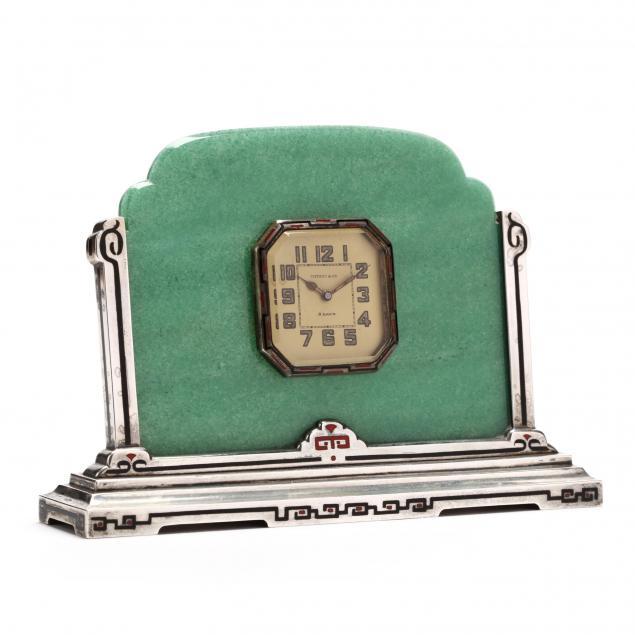 art-deco-sterling-silver-aventurine-quartz-and-enamel-table-clock-tiffany-co