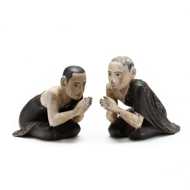 a-rare-pair-of-burmese-carved-and-painted-wooden-monks