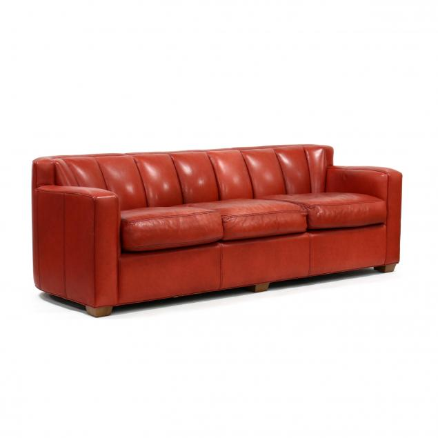 thomasville-furniture-modern-red-leather-sofa