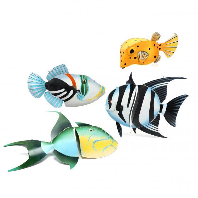 michael-van-hout-20th-century-four-painted-fish-sculptures