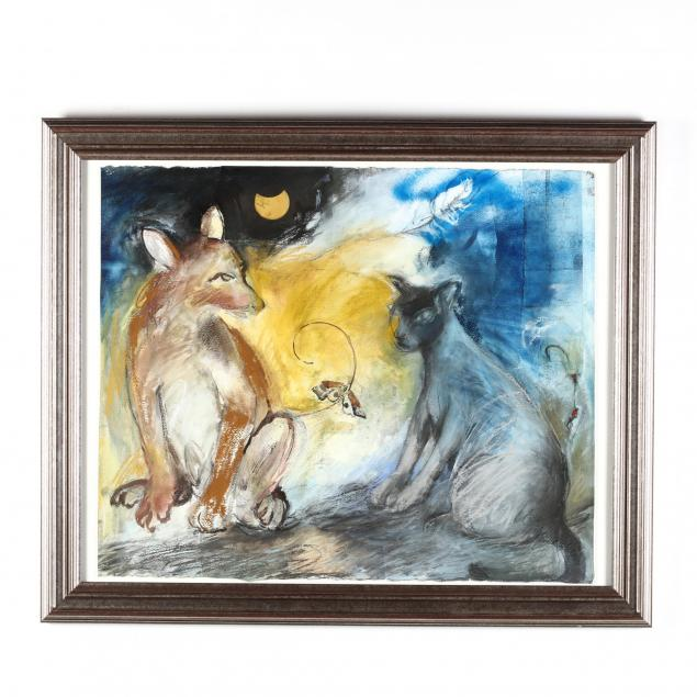 contemporary-allegorical-painting-of-a-fox-and-a-cat
