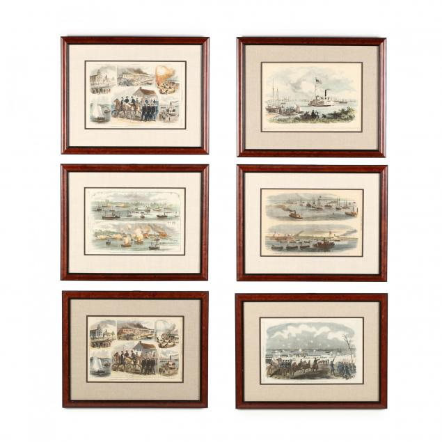 six-burnside-expedition-and-new-bern-prints-hand-colored-by-bob-timberlake