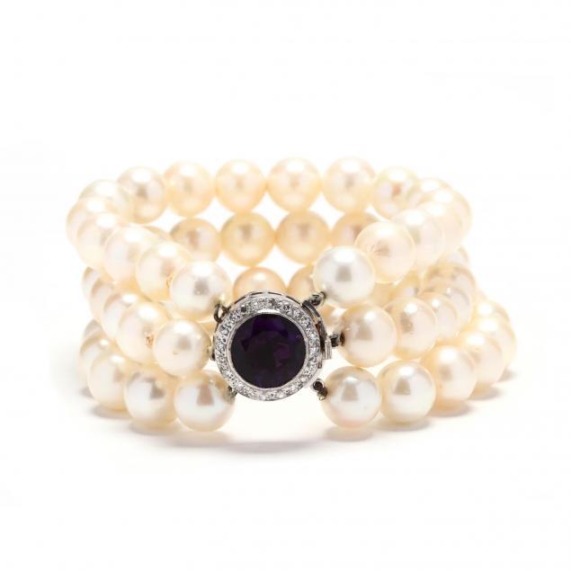 triple-strand-pearl-amethyst-diamond-bracelet