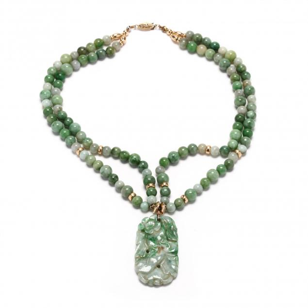 14kt-two-strand-jade-pendant-necklace
