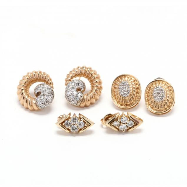 three-pairs-of-gold-and-diamond-earrings