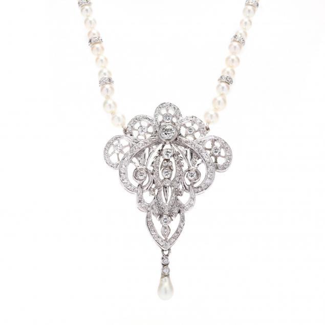 edwardian-style-platinum-diamond-pendant-and-pearl-and-diamond-necklace