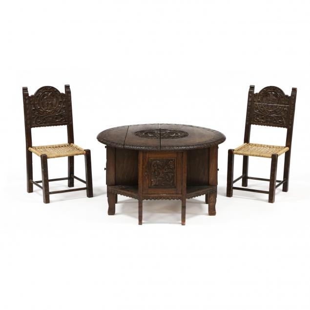 jacobean-style-carved-oak-child-s-table-and-chairs