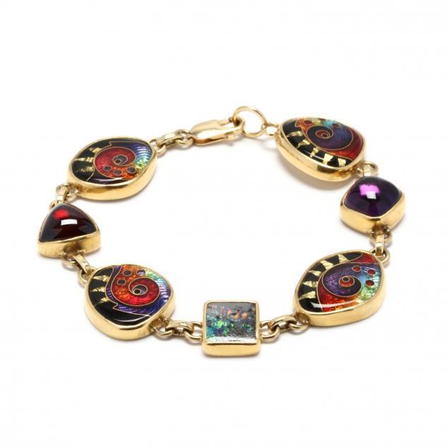 22kt-and-18kt-gold-gem-set-and-enamel-bracelet-ricky-frank