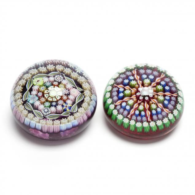 two-perthshire-millefiori-art-glass-paperweights