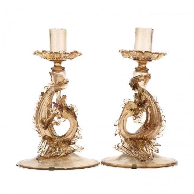 pair-murano-glass-candlesticks