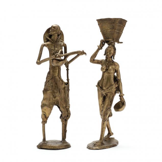 two-african-bronze-figures