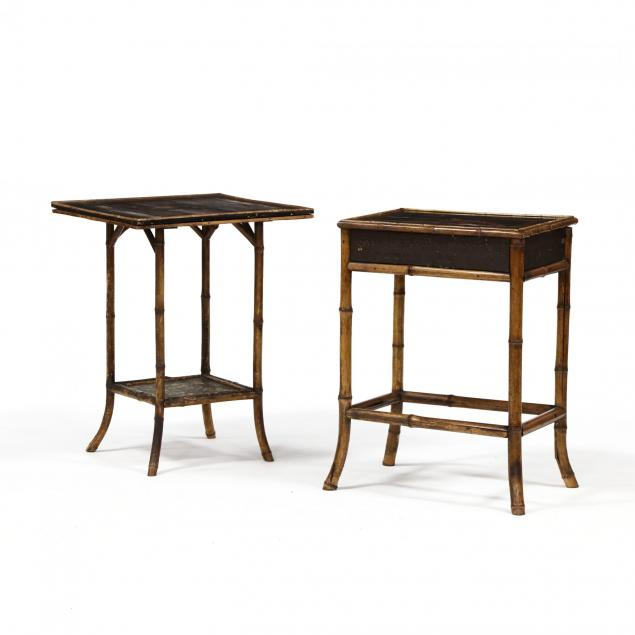 two-antique-english-bamboo-chinoiserie-stands