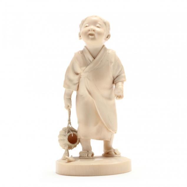 japanese-carved-ivory-okimono-of-a-boy