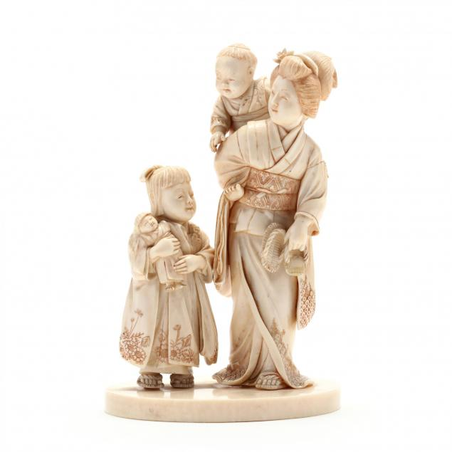 japanese-carved-ivory-okimono-of-mother-and-children