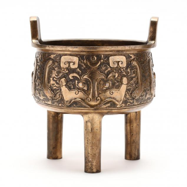 a-chinese-brass-cast-censer-with-silver-inlay