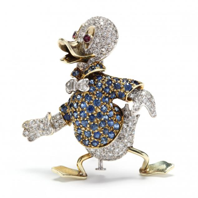 14kt-bi-color-gold-diamond-and-gem-set-duck-brooch