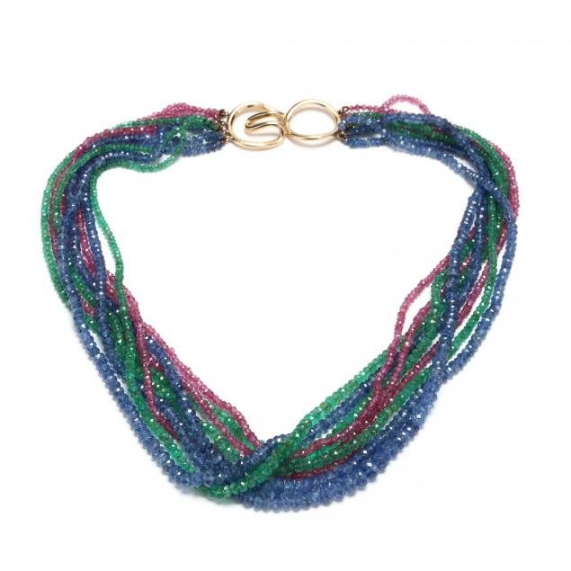 14kt-gold-ruby-sapphire-and-emerald-multi-strand-necklace