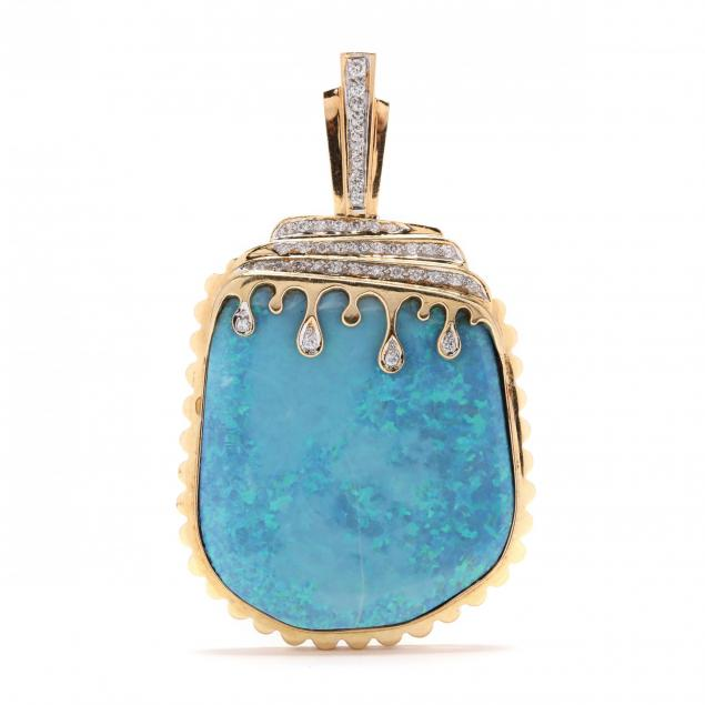18kt-gold-diamond-and-boulder-opal-pendant