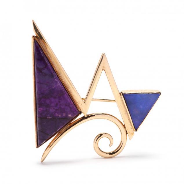 14kt-gold-gem-set-brooch-signed