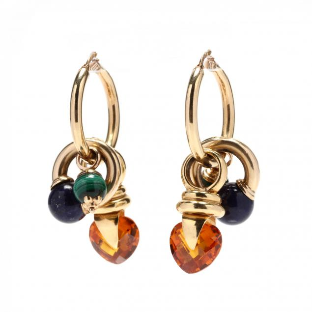 pair-of-14kt-gold-hoops-by-unoaerre-with-gem-set-charms