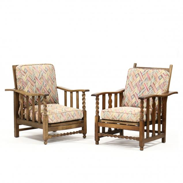 two-william-morris-style-oak-armchars