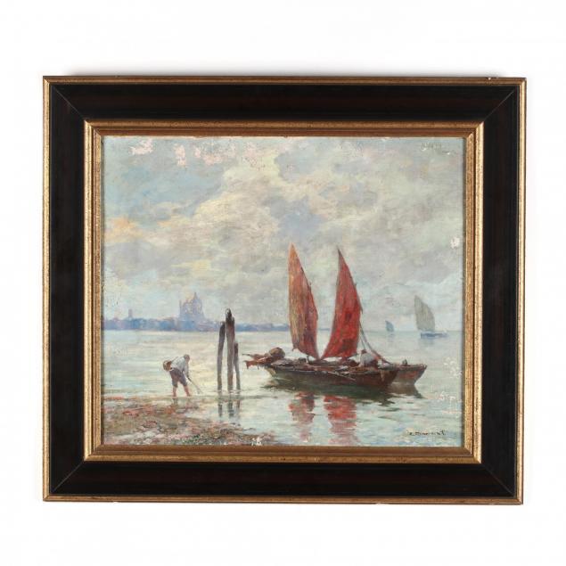 italian-school-circa-1900-sailboats-and-fishermen-in-venice
