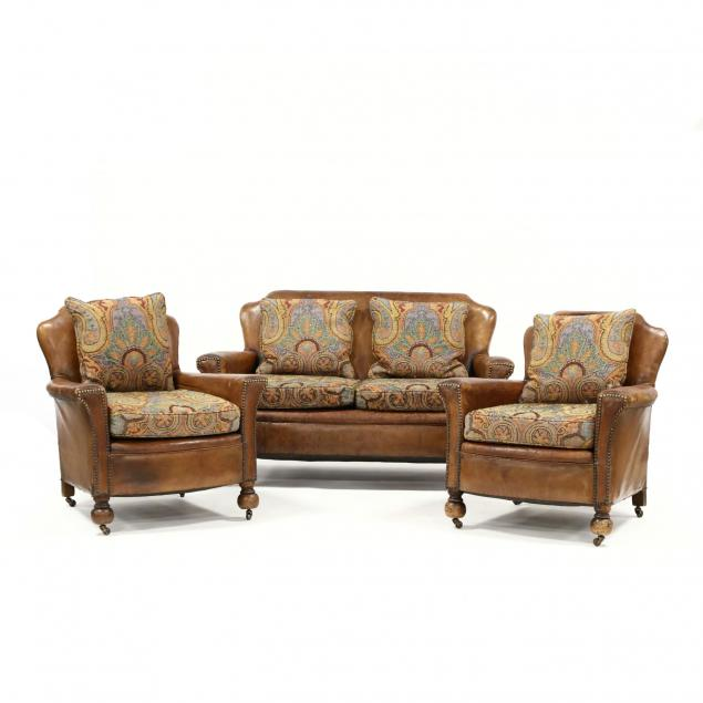 art-deco-leather-upholstered-love-seat-and-club-chairs