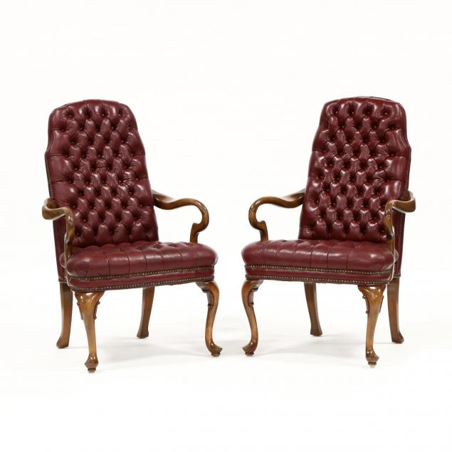 pair-of-queen-anne-style-tufted-leather-armchairs