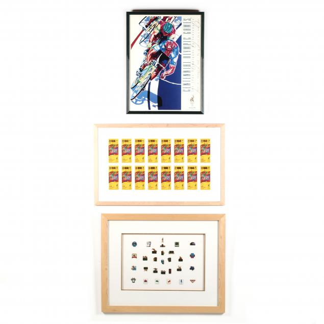 framed-collection-of-olympic-pins-tickets-and-a-poster-atlanta-1996
