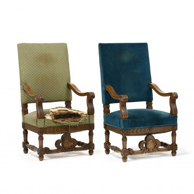 att-r-j-horner-pair-of-renaissance-revival-carved-oak-hall-chairs